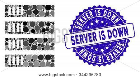 Mosaic Server Icon And Corroded Stamp Seal With Server Is Down Phrase. Mosaic Vector Is Designed Wit