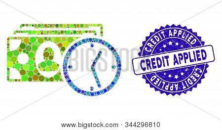Mosaic Credit Icon And Grunge Stamp Seal With Credit Applied Caption. Mosaic Vector Is Designed From