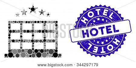 Mosaic Hotel Icon And Corroded Stamp Seal With Hotel Text. Mosaic Vector Is Created With Hotel Icon