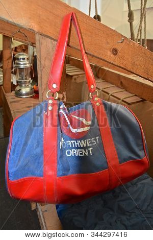 Moorhead, Minnesota, January 8, 2019:  The Bag Is A Product Of Northwest Orient Airlines, Then North