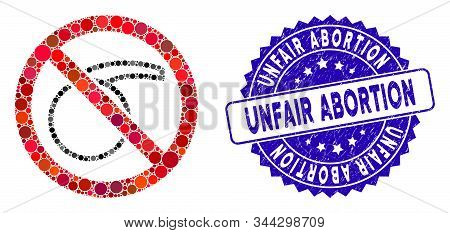 Mosaic No Chemical Flask Icon And Grunge Stamp Seal With Unfair Abortion Phrase. Mosaic Vector Is Fo