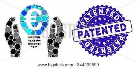 Mosaic Euro Patent Care Icon And Grunge Stamp Seal With Patented Caption. Mosaic Vector Is Formed Wi