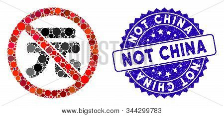 Mosaic No Chinese Yuan Icon And Grunge Stamp Seal With Not China Text. Mosaic Vector Is Designed Wit