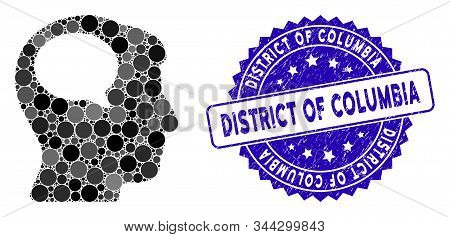 Mosaic Person Thinking Icon And Grunge Stamp Seal With District Of Columbia Caption. Mosaic Vector I