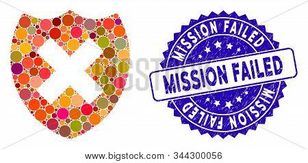 Mosaic Security Shield Fail Icon And Grunge Stamp Seal With Mission Failed Text. Mosaic Vector Is Cr