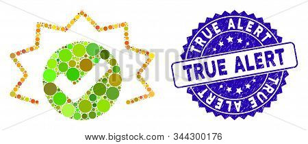 Collage True Alert Icon And Grunge Stamp Seal With True Alert Caption. Mosaic Vector Is Designed Wit