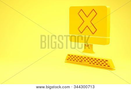 Yellow Computer With Keyboard And X Mark Icon Isolated On Yellow Background. Error Window, Exit Butt