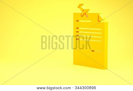 Yellow Note Paper With Pinned Pushbutton Icon Isolated On Yellow Background. Memo Paper Sign. Minima