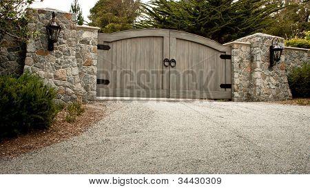 Large Wooden Driveway Gate