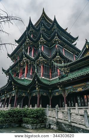 Ancient Hongen Pagoda Tower With Green Tiled Red Columns In Chongqing, Southwest Metropolis In China