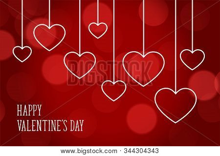 Valentines Day Red Bokeh Beautiful Hearts Background
