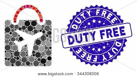 Mosaic Duty Free Bag Icon And Rubber Stamp Seal With Duty Free Phrase. Mosaic Vector Is Formed With
