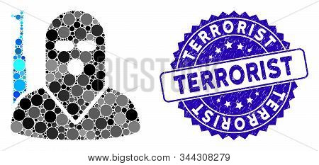 Mosaic Terrorist Icon And Distressed Stamp Seal With Terrorist Phrase. Mosaic Vector Is Created With