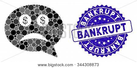 Mosaic Bankrupt Icon And Corroded Stamp Seal With Bankrupt Caption. Mosaic Vector Is Composed With B
