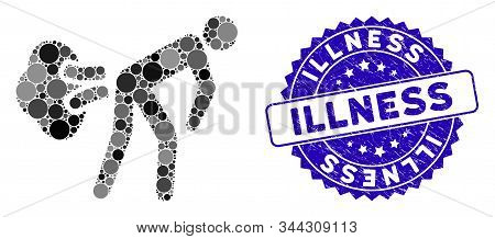 Mosaic Fart Gases Icon And Grunge Stamp Seal With Illness Text. Mosaic Vector Is Composed With Fart