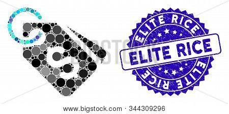 Mosaic Dollar Price Tags Icon And Grunge Stamp Seal With Elite Rice Phrase. Mosaic Vector Is Created