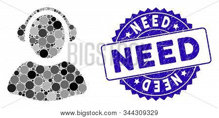 Mosaic Operator Icon And Distressed Stamp Seal With Need Phrase. Mosaic Vector Is Designed With Oper
