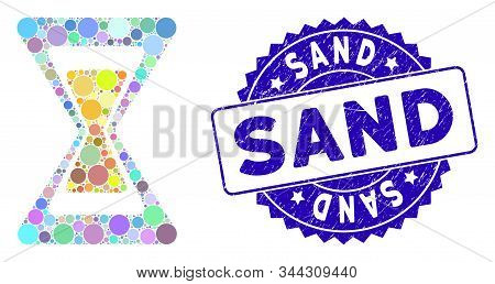 Mosaic Sand Clock Icon And Rubber Stamp Seal With Sand Phrase. Mosaic Vector Is Designed With Sand C