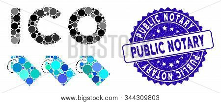 Mosaic Ico Tokens Icon And Distressed Stamp Seal With Public Notary Phrase. Mosaic Vector Is Created