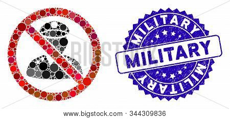 Mosaic No Military Officer Icon And Corroded Stamp Seal With Military Text. Mosaic Vector Is Formed