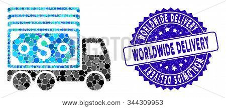 Mosaic Cash Lorry Icon And Grunge Stamp Seal With Worldwide Delivery Caption. Mosaic Vector Is Compo