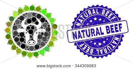 Mosaic Beef Certificate Seal Icon And Grunge Stamp Watermark With Natural Beef Phrase. Mosaic Vector