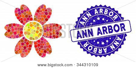 Mosaic Flower Icon And Corroded Stamp Seal With Ann Arbor Text. Mosaic Vector Is Composed With Flowe