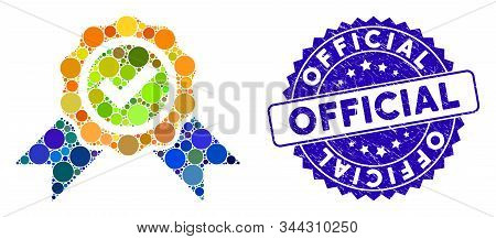 Mosaic Official Icon And Rubber Stamp Seal With Official Text. Mosaic Vector Is Composed With Offici