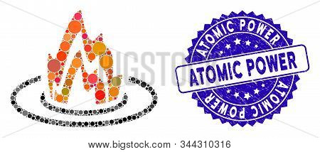 Collage Fire Location Icon And Rubber Stamp Seal With Atomic Power Phrase. Mosaic Vector Is Composed