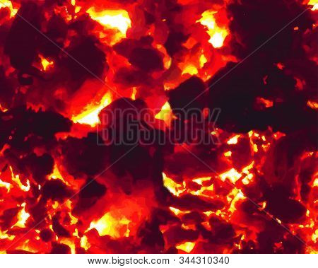 Seamless Realistic Lush Lava Fire Pattern Background, Texture Vector