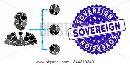 Mosaic Distribution Manager Icon And Rubber Stamp Seal With Sovereign Caption. Mosaic Vector Is Crea
