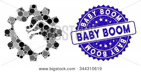 Mosaic Artificial Child Icon And Rubber Stamp Seal With Baby Boom Phrase. Mosaic Vector Is Formed Fr