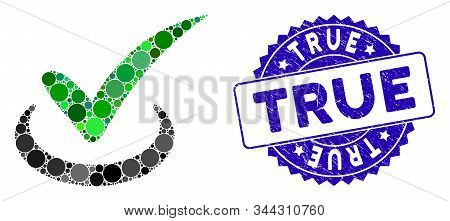 Mosaic True Icon And Grunge Stamp Watermark With True Phrase. Mosaic Vector Is Created From True Ico