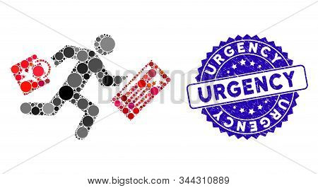 Mosaic Late Passenger Icon And Grunge Stamp Seal With Urgency Caption. Mosaic Vector Is Designed Wit