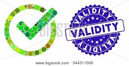 Mosaic Validity Icon And Distressed Stamp Seal With Validity Caption. Mosaic Vector Is Designed With