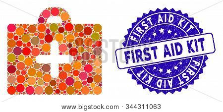 Mosaic First Aid Icon And Rubber Stamp Seal With First Aid Kit Phrase. Mosaic Vector Is Designed Wit