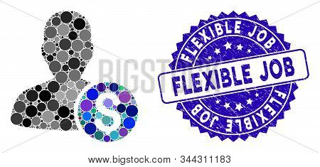 Collage Investor Icon And Rubber Stamp Seal With Flexible Job Text. Mosaic Vector Is Designed With I