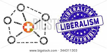 Mosaic Medical Network Structure Icon And Grunge Stamp Seal With Liberalism Caption. Mosaic Vector I