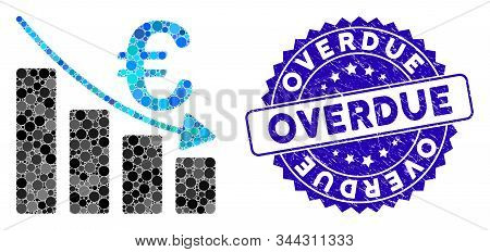 Mosaic Euro Recession Bar Chart Icon And Distressed Stamp Seal With Overdue Text. Mosaic Vector Is C