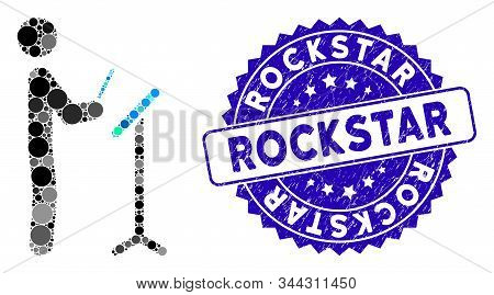 Mosaic Concert Conductor Icon And Corroded Stamp Seal With Rockstar Text. Mosaic Vector Is Composed
