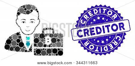 Mosaic Baht Accounter Icon And Rubber Stamp Seal With Creditor Caption. Mosaic Vector Is Designed Fr