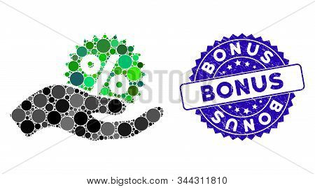 Mosaic Give Percent Bonus Icon And Grunge Stamp Watermark With Bonus Text. Mosaic Vector Is Designed