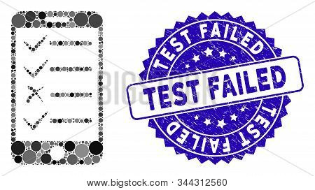 Mosaic Mobile Todo List Icon And Rubber Stamp Watermark With Test Failed Text. Mosaic Vector Is Comp