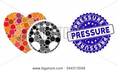 Mosaic Blood Pressure Meter Icon And Distressed Stamp Seal With Pressure Text. Mosaic Vector Is Form