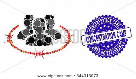 Mosaic Concentration Camp Icon And Rubber Stamp Watermark With Concentration Camp Caption. Mosaic Ve