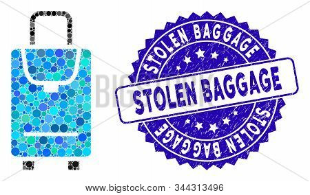 Mosaic Carryon Icon And Distressed Stamp Seal With Stolen Baggage Caption. Mosaic Vector Is Composed