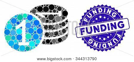 Mosaic Coins Icon And Rubber Stamp Seal With Funding Phrase. Mosaic Vector Is Created From Coins Ico