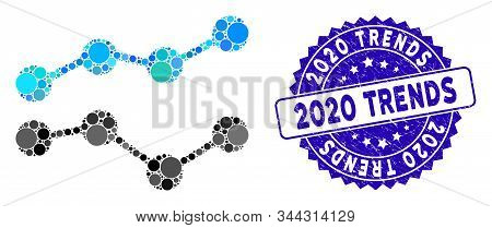 Mosaic Trends Icon And Grunge Stamp Watermark With 2020 Trends Phrase. Mosaic Vector Is Formed With