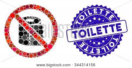 Mosaic No Toilet Paper Icon And Grunge Stamp Seal With Toilette Text. Mosaic Vector Is Created From