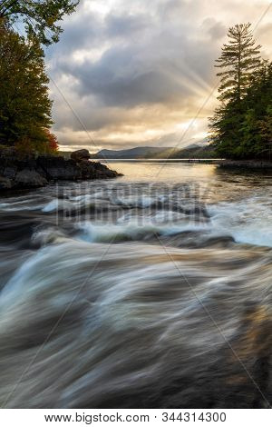 Sunrays Beaming On Indian Lake Adirondacks New York